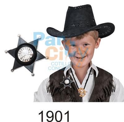estrella sherif de plastico negra con centro plateado