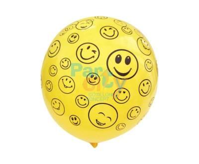 GLOBO SMILE AMARILLO Y NEGRO x25