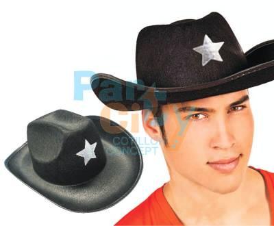 SOMBRERO SHERIFF NEGRO CON ESTRELLA